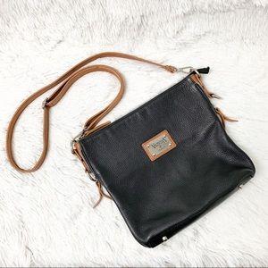 Authentic Valentina Black Leather Crossbody Bag